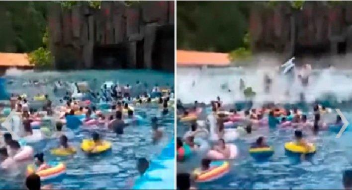 VIDEO: Tsunami golpea a varias personas desprevenidas y deja mas de 40 heridos en un parque acuático de China