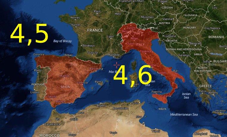 sismo españa e italia