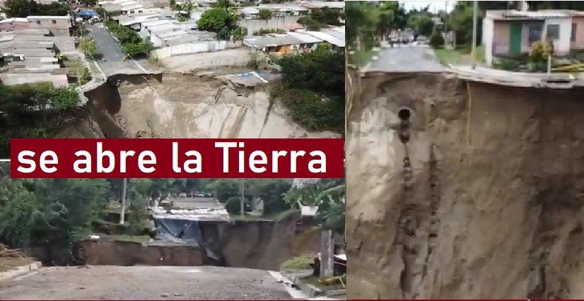 Se abre La tierra: enorme hundimientos (socavón) pone en peligro a 400 viviendas en el Salvador