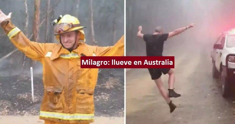 Bomberos bailan de alegria por llegada de lluvias tras incendios forestales