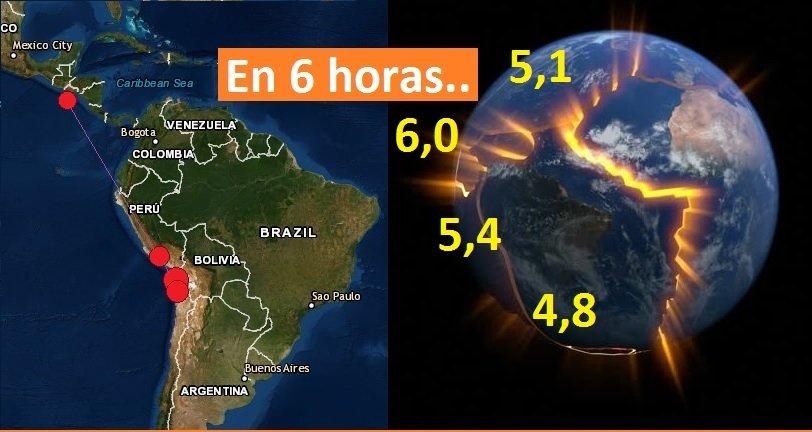 Sismos fuertes sorprende a Chile, Perú y El Salvador ¡Se mueve latinoamerica!!