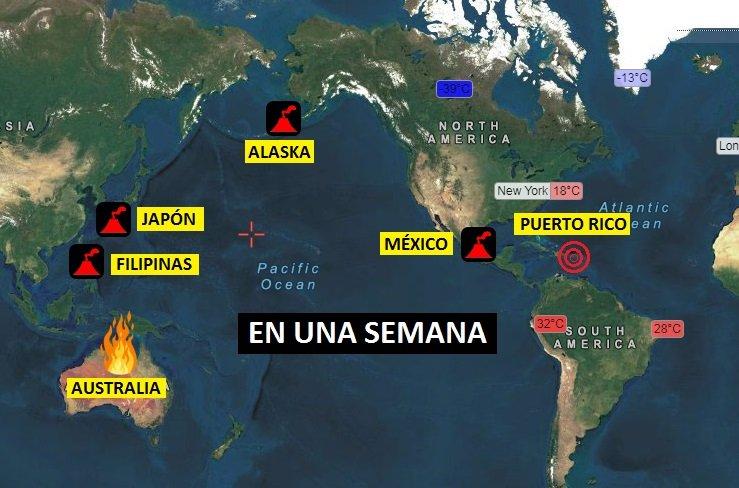 Erupciones volcánicas, Australia sigue ardiendo y Puerto Rico sigue tambaleándose