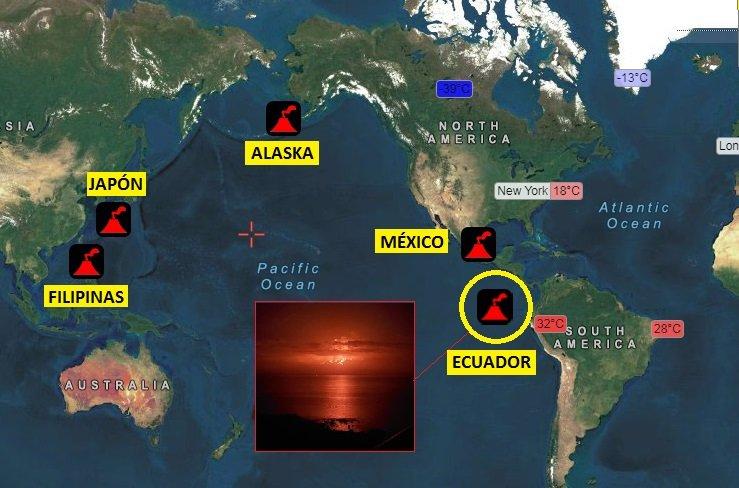 El volcán de Ecuador entra en erupción y se suma con Alaska, Filipinas, Japón, México en una semana