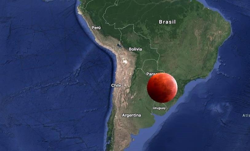 Luna rojo en Argentina