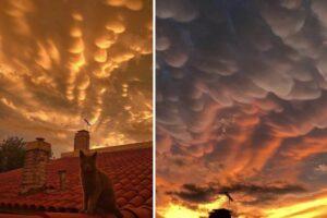 Nubes mammatus en Buenos Aires