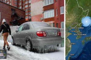 Ciudad rusa amanece congelada tras tormenta de hielo