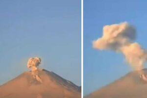 Columnas de humo se elevan desde el volcán Popocatépetl en México