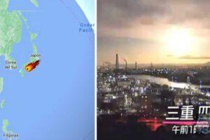 Meteorito brillante cae y todo el cielo nocturno se ilumina intensamente en Japón