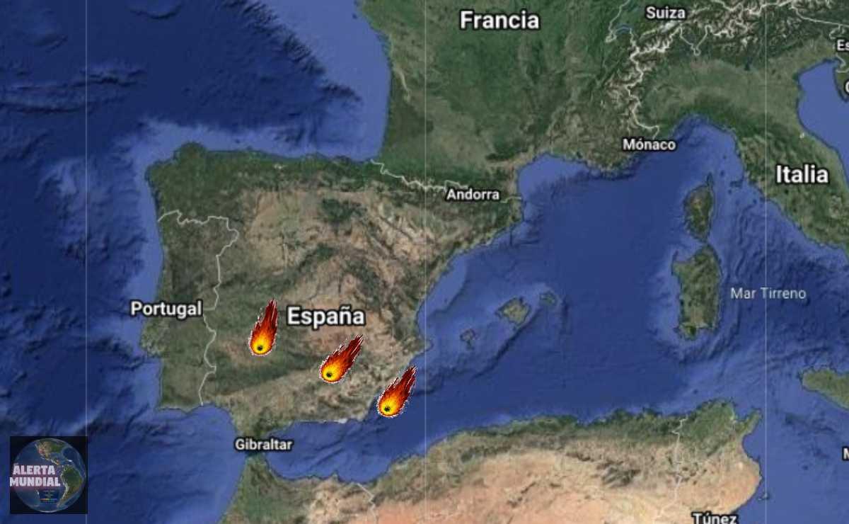 Tres meteoritos caen en España el mismo día del sábado