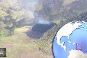 Alerta naranja cuando se forma un domo de lava en la base del volcán La Soufriere