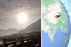 Bola de fuego gigante se estrella contra un pueblo en China