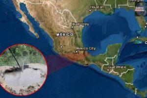Cráter que expulsa lodo hirviendo en Veracruz