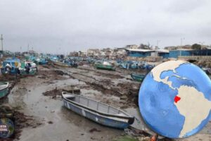 El mar se retira en Puerto de Santa Rosa del Ecuador