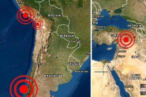 Fuertes sismos tambalean Turquía, Chile y Perú