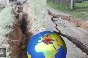 LA TIERRA LITERALMENTE ABIERTA escena de película del terremoto en Croacia