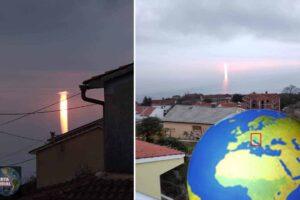 Raro fenómeno en forma de rayo crepuscular aparece en Croacia