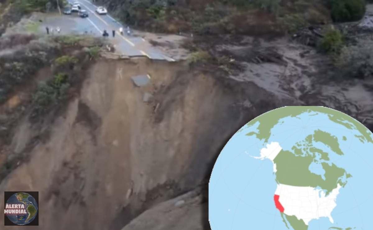 Enorme socavón arrasó parte de una autopista en California