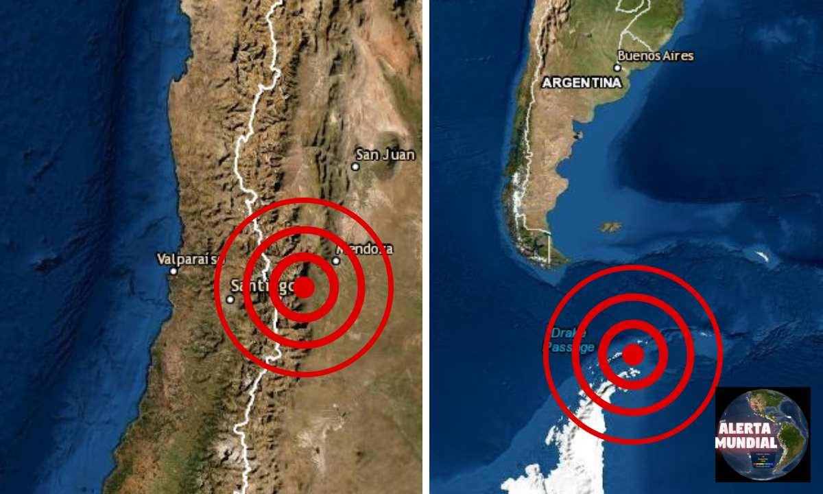 Fuertes sismos de magnitud preliminar 7.0 y 5.8 grados golpea Argentina, Chile y cerca de la Antártica