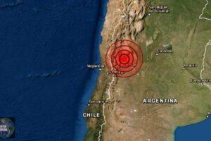Sismo de magnitud preliminar 6.8 golpea Argentina y Chile