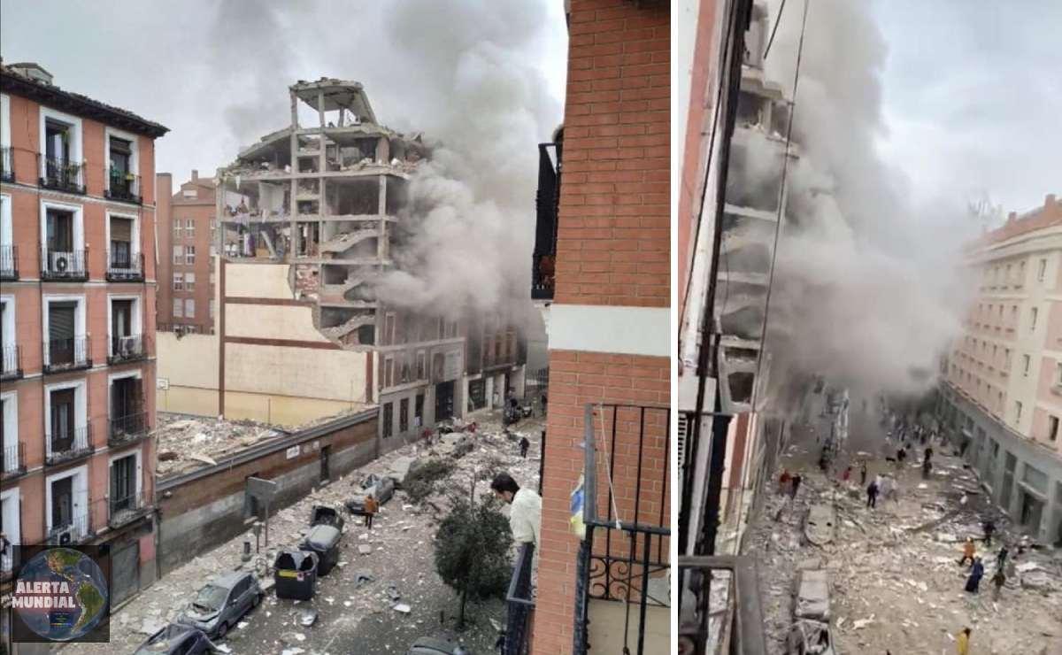 Una fuerte explosión destruye edificio en Madrid