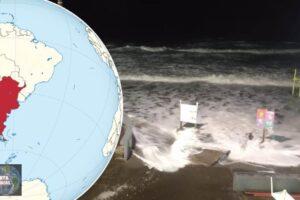 Se sale el mar en Monte Hermoso, Argentina esta noche (VIDEO)