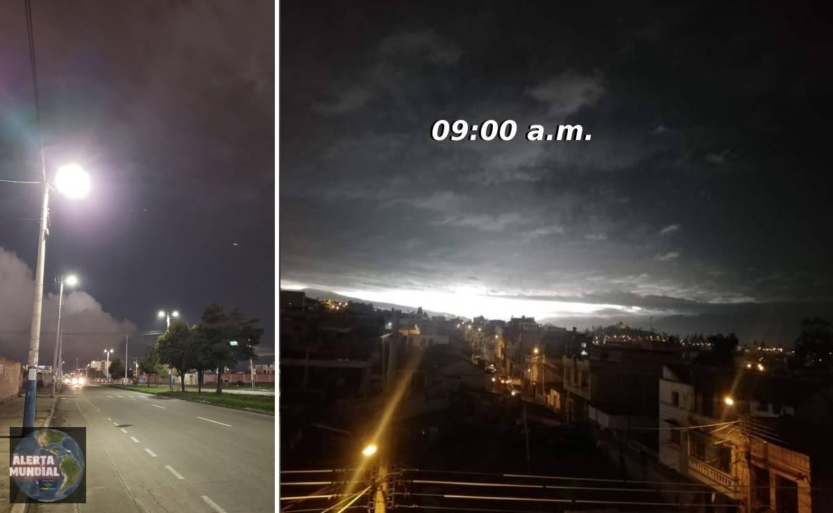 El día se convierte en noche ciudad de Ecuador bajo las tinieblas en plena mañana