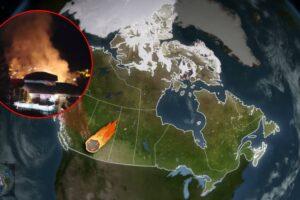Enorme bola de fuego cae y provoca un incendio en Canadá (VIDEO)