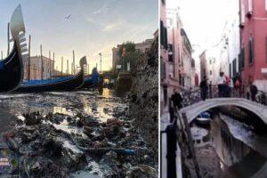 Prácticamente los icónicos canales de Venecia han quedado secas