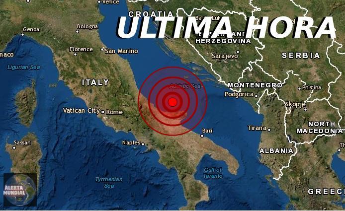 Sismo de magnitud 5.5 sacude las costas de Italia