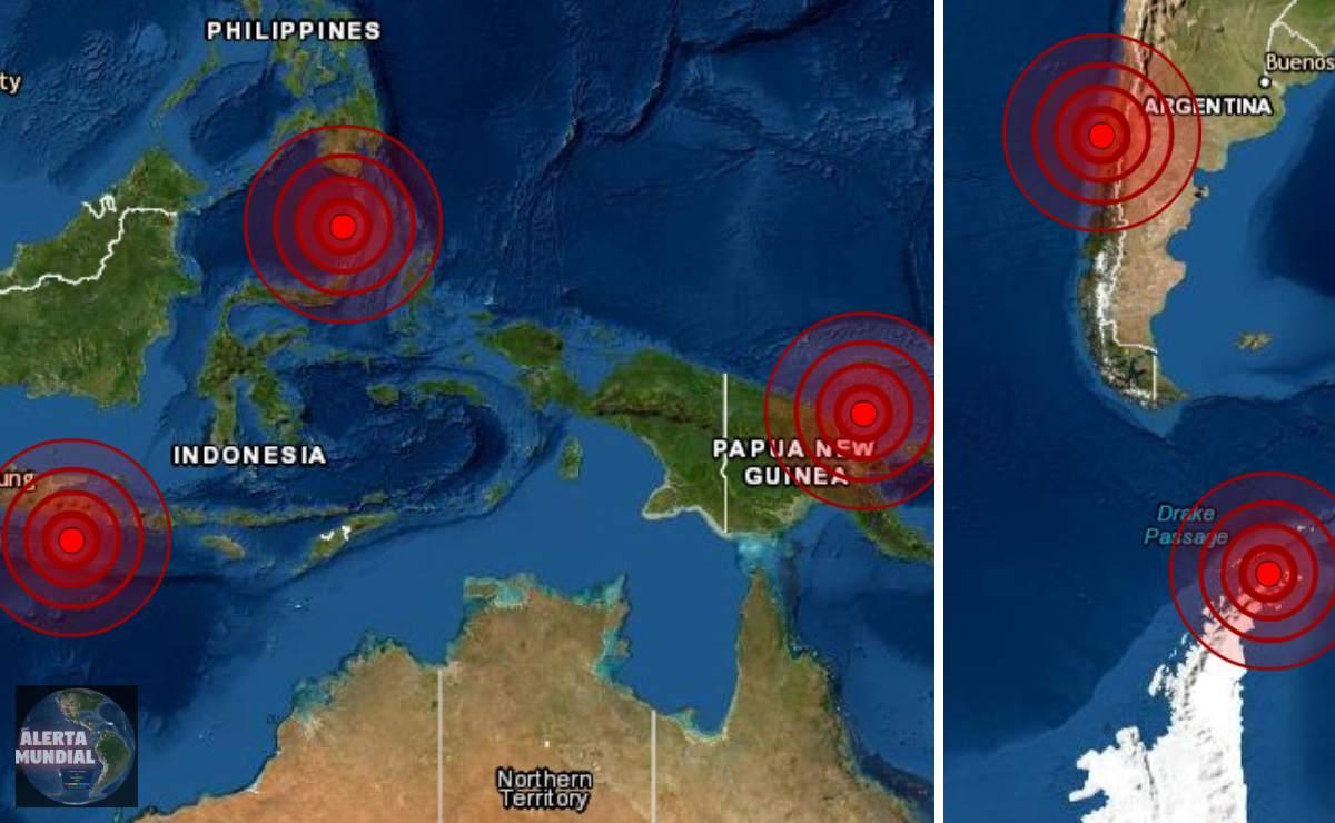 Fuertes sismos de 6.0, 6.1, 6.0, 5.5, 5.3 y 5.2 en Chile, Indonesia, Filipinas, Japón, Antártica y PNG