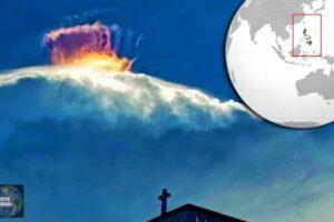 Misteriosa corona multicolor se forma sobre una nube en Filipinas ¿Señales