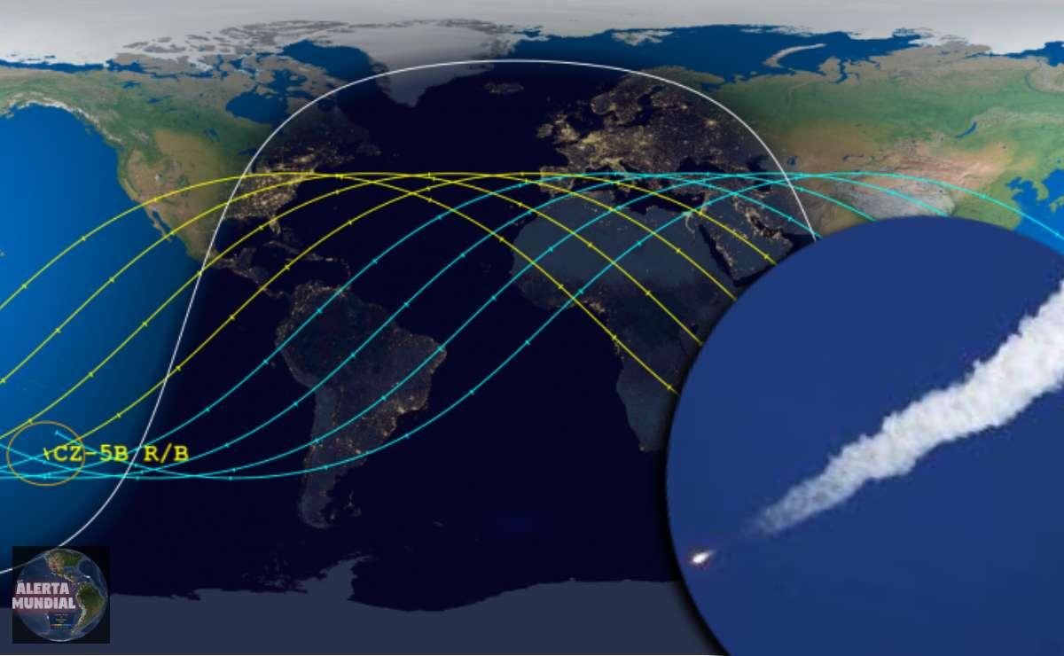 Enorme cohete chino esta cayendo sin control a la Tierra y grandes ciudades propensos a estrellarse