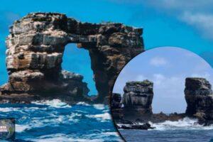 La mundialmente famosa formación rocosa de Galápagos, el arco de Darwin, se derrumba en el mar