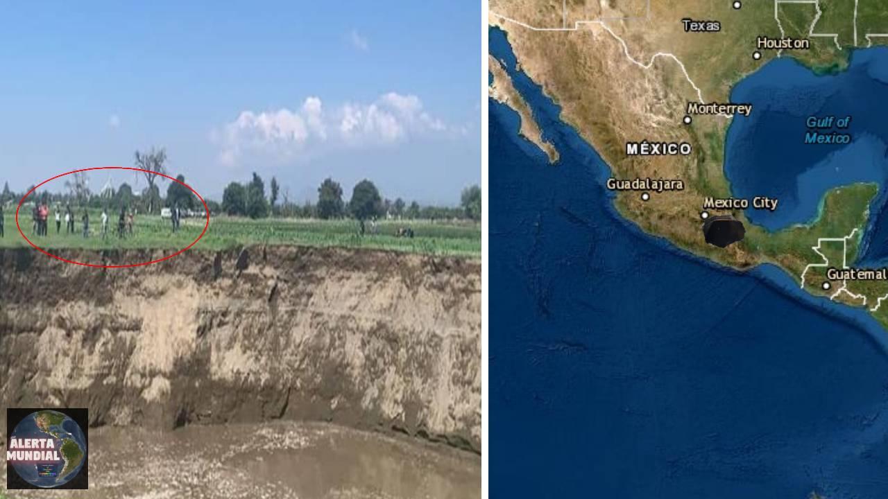 Se hunde la Tierra en México un enorme socavón se traga cultivos (VIDEOS)