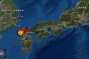 VIDEO una enorme bola de fuego ilumina los grandes edificios de Japón