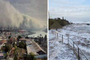 VIDEOS Se sale el mar y un tsunami de nubes sorprende a Chile