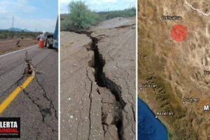 Se abre la tierra en México Aparece enorme grieta en carretera de Chihuahua