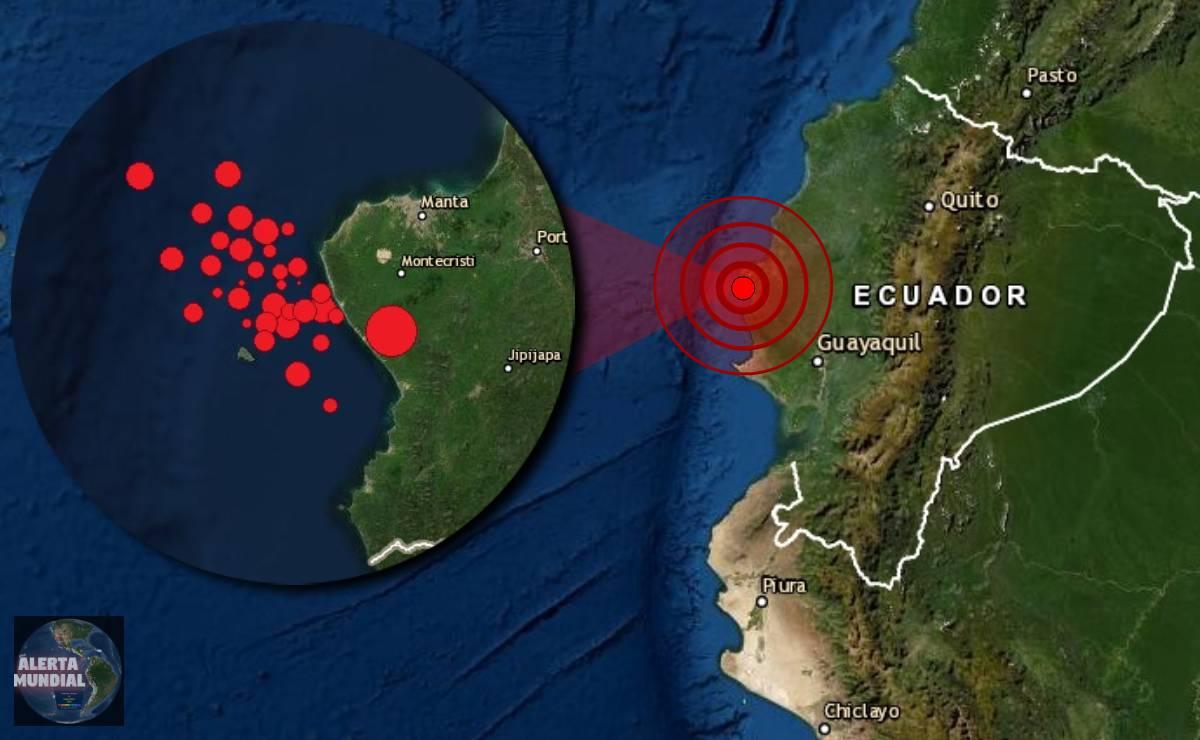 Un enjambre sísmico de más de 50 temblores esta golpeando las costas de Ecuador
