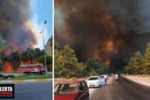 Momento aterrador de la llegada de los incendios a las áreas residenciales Turquía (VIDEOS)