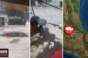 Tremenda granizada 'pinta de blanco' e inunda a México (VIDEOS)