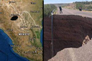 VIDEO Un enorme socavón se forma en Chihuahua, México se abre la tierra..